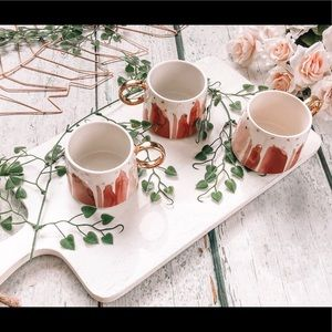 Set of 3 Anthropologie mugs coffee cups gold pink
